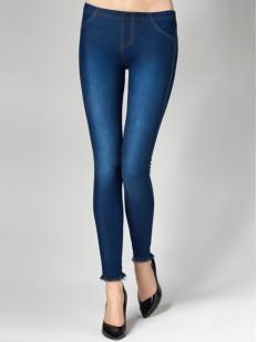 Женские джинсовые легинсы из хлопка с бахромой