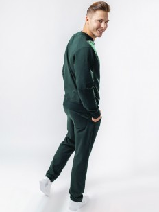 Мужские спортивные зеленые брюки из хлопка с карманами