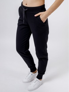 Женские черные штаны джоггеры в спортивном стиле с манжетами