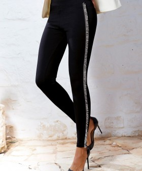 Хлопковые женские брюки леггинсы с лампасами и бахромой