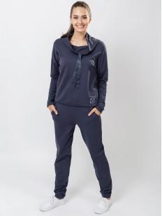 Женские хлопковые домашние брюки синие