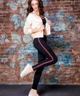Женские спортивные леггинсы для фитнеса с красными полосками лампасами