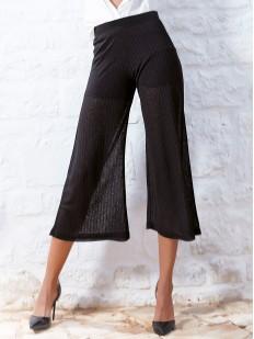 Женские брюки капри клеш с высокой посадкой