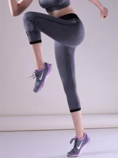 Женские спортивные леггинсы капри с фактурой меланж