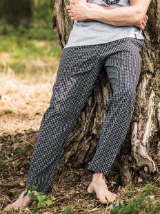 Хлопковые домашние мужские штаны в клетку