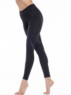Черные спортивные женские леггинсы из микрофибры с широким поясом