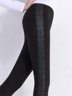 Фантазийные леггинсы брюки с кожаными вставками и цветочным узором