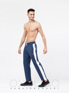 Хлопковые мужские спортивные штаны синие