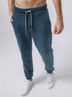 Спортивные синие мужские штаны джоггеры из хлопка с манжетами