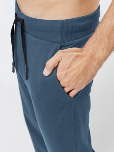Синие мужские спортивные брюки из хлопка с карманами