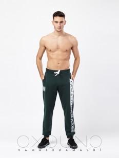 Мужские домашние зеленые спортивные штаны из хлопка