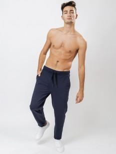 Хлопковые синие мужские штаны с карманами без манжет