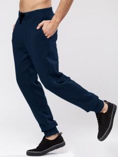 Синие мужские штаны джоггеры из хлопка с манжетами в спортивном стиле