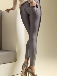 Блестящие брюки легинсы с накладными карманами