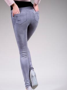 Цветные велюровые брюки леггинсы с накладными карманами