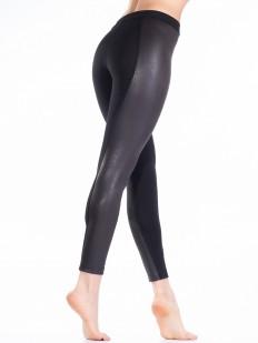 Женские хлопковые брюки леггинсы с кожаными вставками