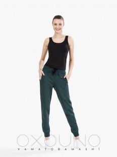 Хлопковые женские домашние брюки зеленые