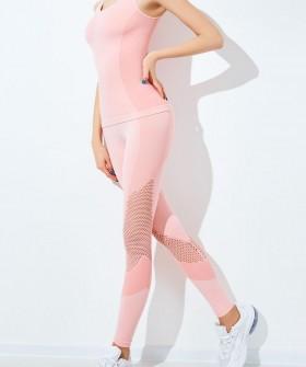 Цветные спортивные женские леггинсы с вставками из сеточки