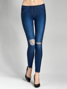 Женские джинсовые легинсы из хлопка с разрезами на коленках