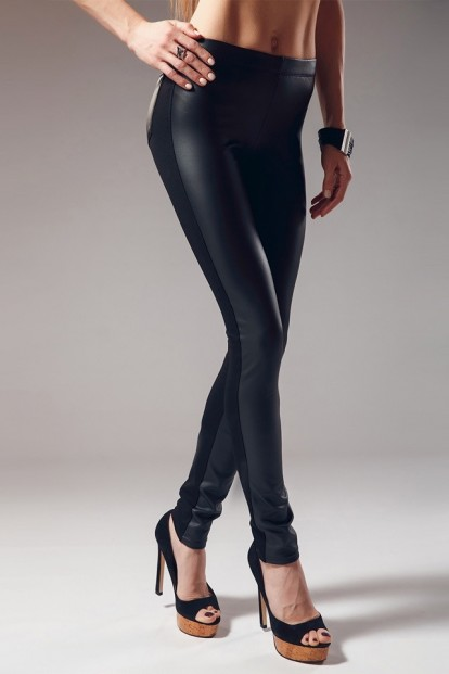 Женские кожаные брюки легинсы с задними карманами GIULIA LEGGY SHINE 02