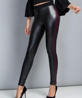 Женские кожаные легинсы с контрастными полосками