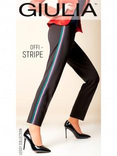 Женские брюки леггинсы прямого кроя с яркими полосками лампасами