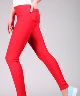 Летние цветные леггинсы брюки из вискозы с задними карманами