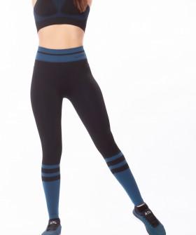 Спортивные женские легинсы для фитнеса с синими вставками
