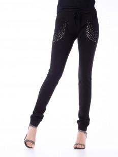 Женские леггинсы брюки из вискозы со стразами в спортивном стиле