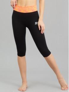 Спортивные женские легинсы капри для фитнеса с ярким поясом