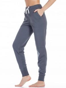 Женские серые домашние брюки джоггеры с карманами и манжетами
