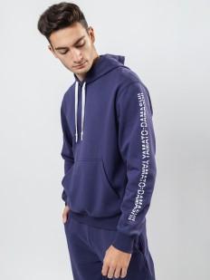Синяя мужская толстовка с карманом кенгуру и капюшоном