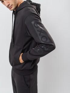 Черная мужская толстовка с карманом кенгуру и капюшоном