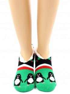 Последний товар!!! Женские домашние меховые носки тапочки с пингвинами