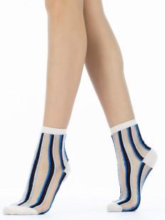 Оригинальные прозрачные женские носки в цветную полоску