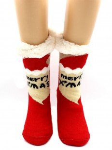 Теплые женские новогодние носки с мехом внутри