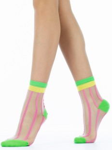 Высокие стеклянные женские носки в кислотную полоску