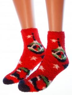 Махровые новогодние женские носки с елочными игрушками