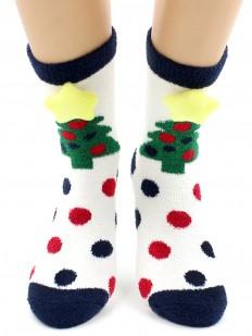 Махровые теплые женские новогодние носки в горошек