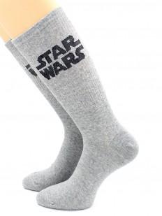 Высокие серые носки с черной надписью STAR WARS