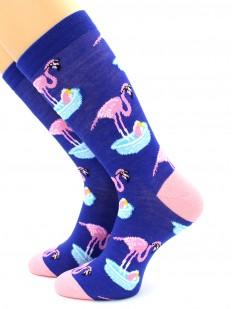 Цветные высокие носки унисекс с розовым фламинго