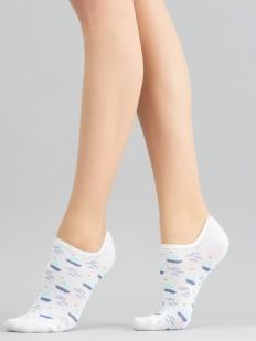 Короткие женские носки с морским рисунком: кораблики на волнах