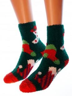 Махровые высокие женские носки с новогодним рисунком