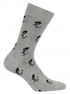 Высокие хлопковые мужские носки с принтом рыбок