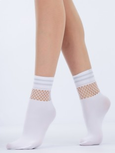 Высокие стильные женские носки с вставкой из сетки