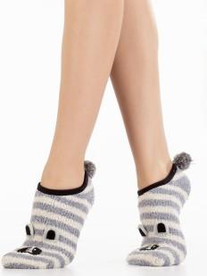 Короткие махровые женские носки с полосатым енотом и хвостиком
