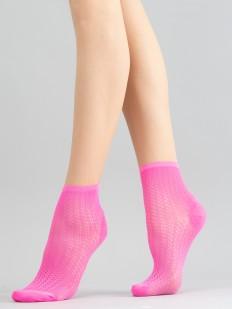 Неоновые женские носки с просветным узором