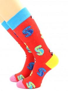 Яркие высокие носки с валютной символикой доллар