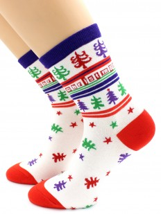 Женские высокие хлопковые носки с новогодним орнаментом