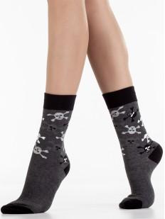 Высокие пиратские носки унисекс с рисунком в виде черепов